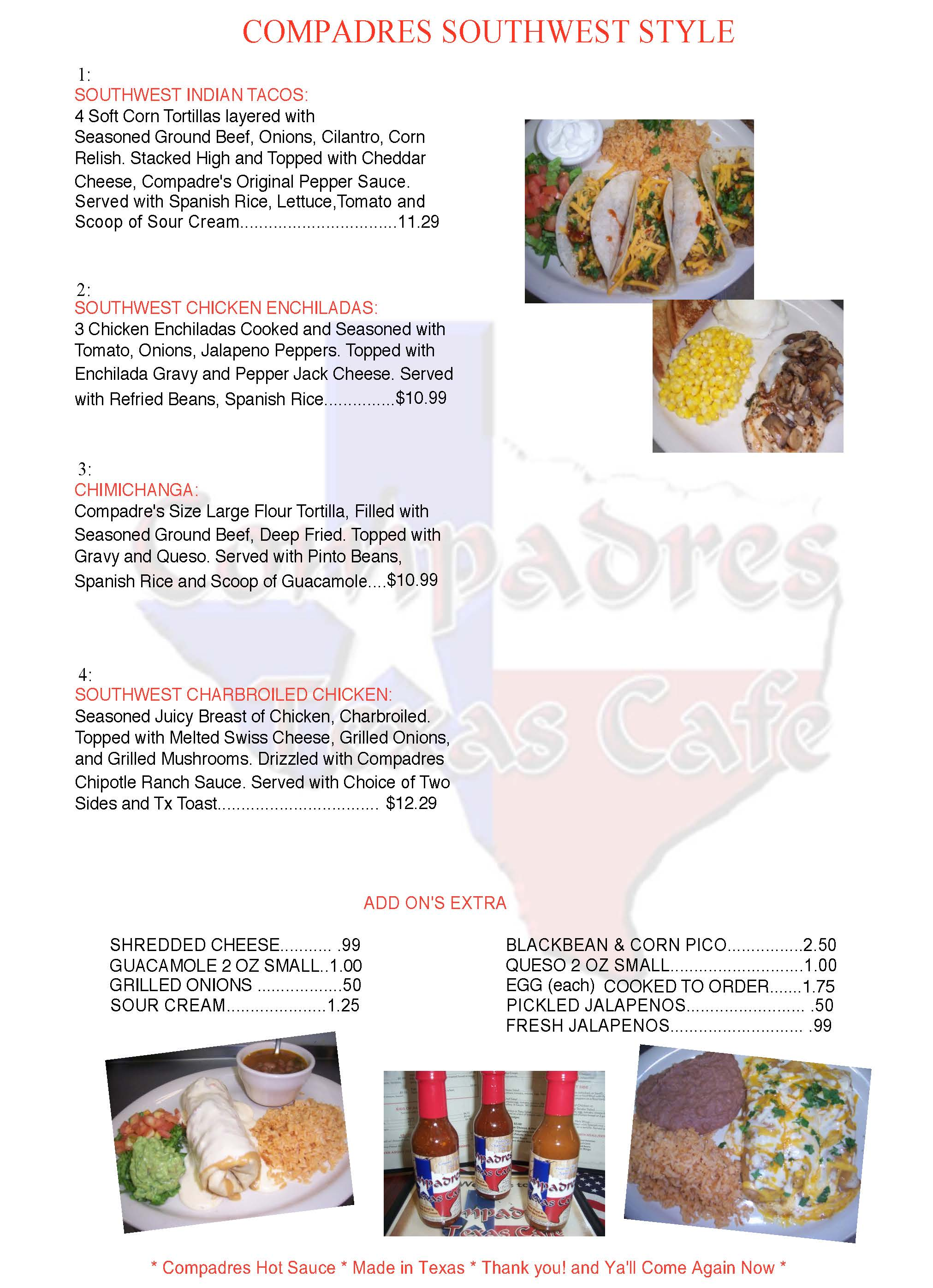 Compadres Texas Cafe, Mexican / Southwest family Restaurant, Lunch, Dinner menu.